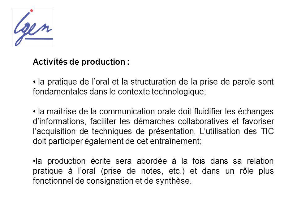 Activités de production :