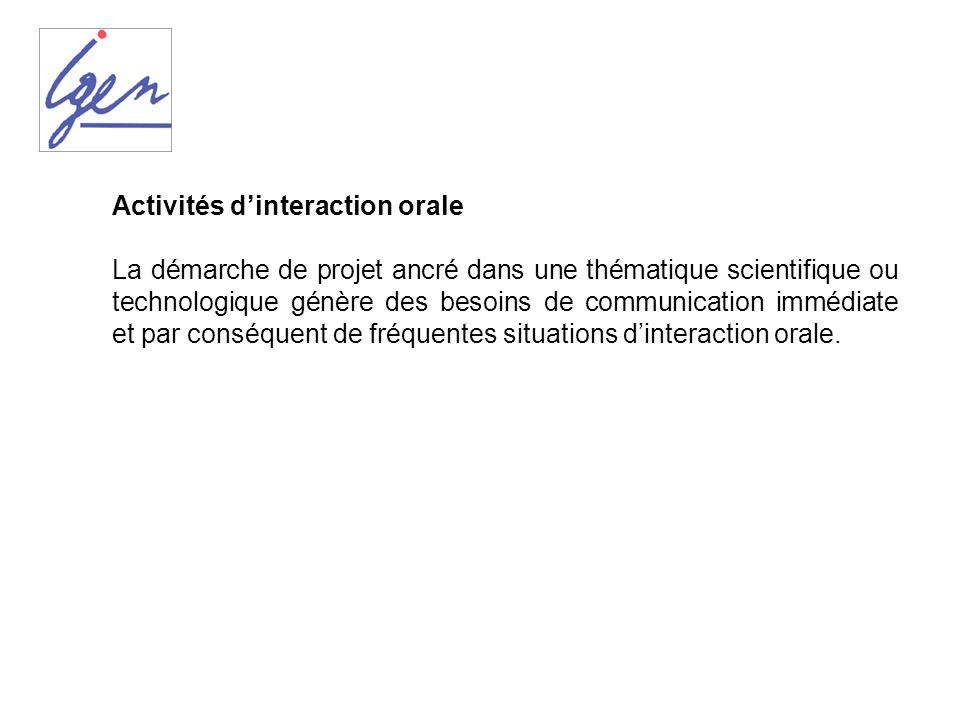 Activités d'interaction orale