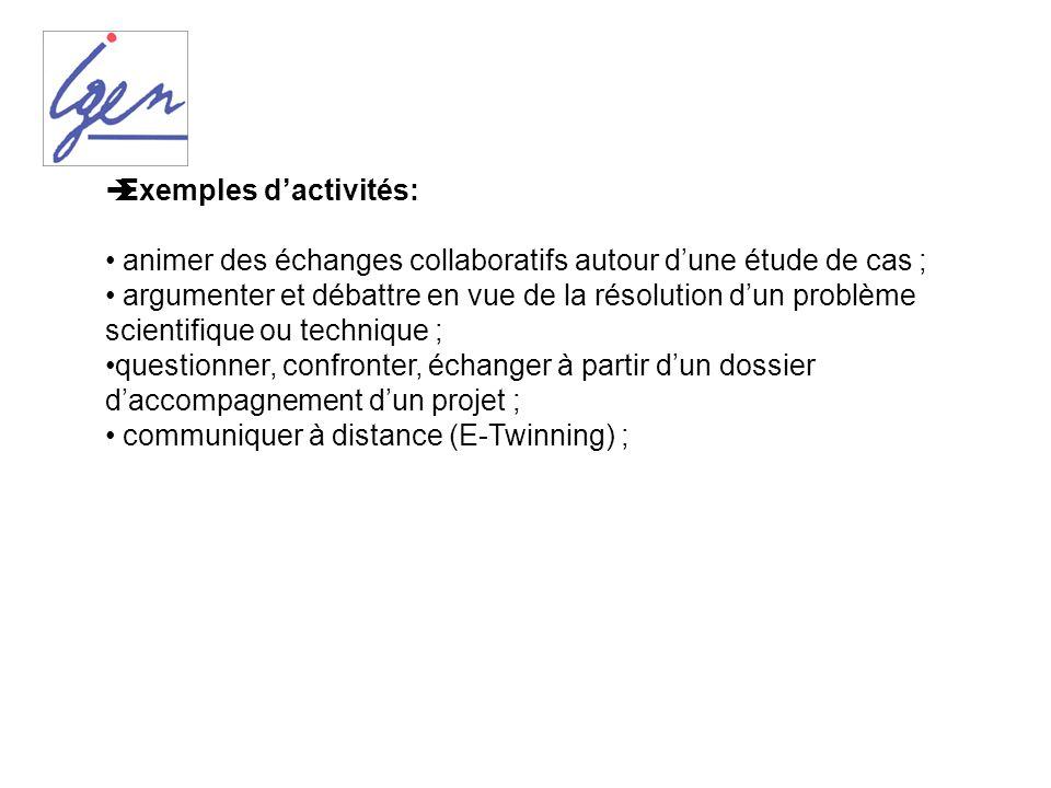 Exemples d'activités: