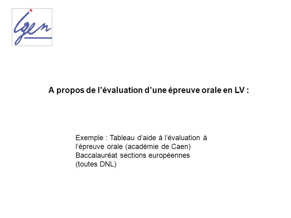 A propos de l'évaluation d'une épreuve orale en LV :