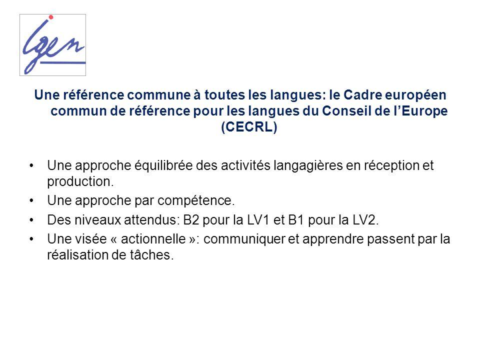 Une référence commune à toutes les langues: le Cadre européen commun de référence pour les langues du Conseil de l'Europe (CECRL)