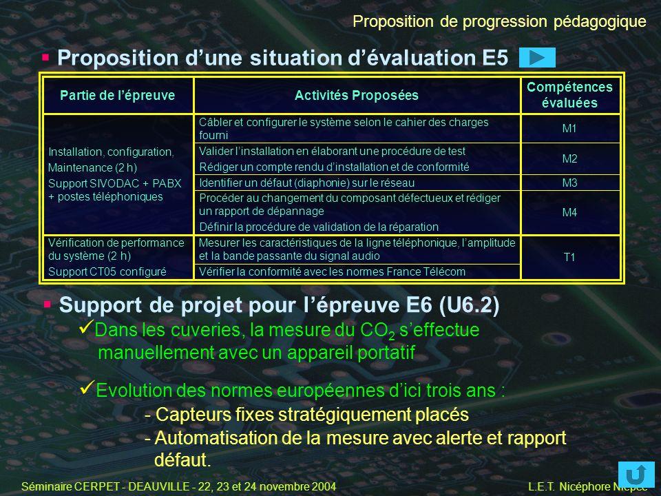 Proposition d'une situation d'évaluation E5