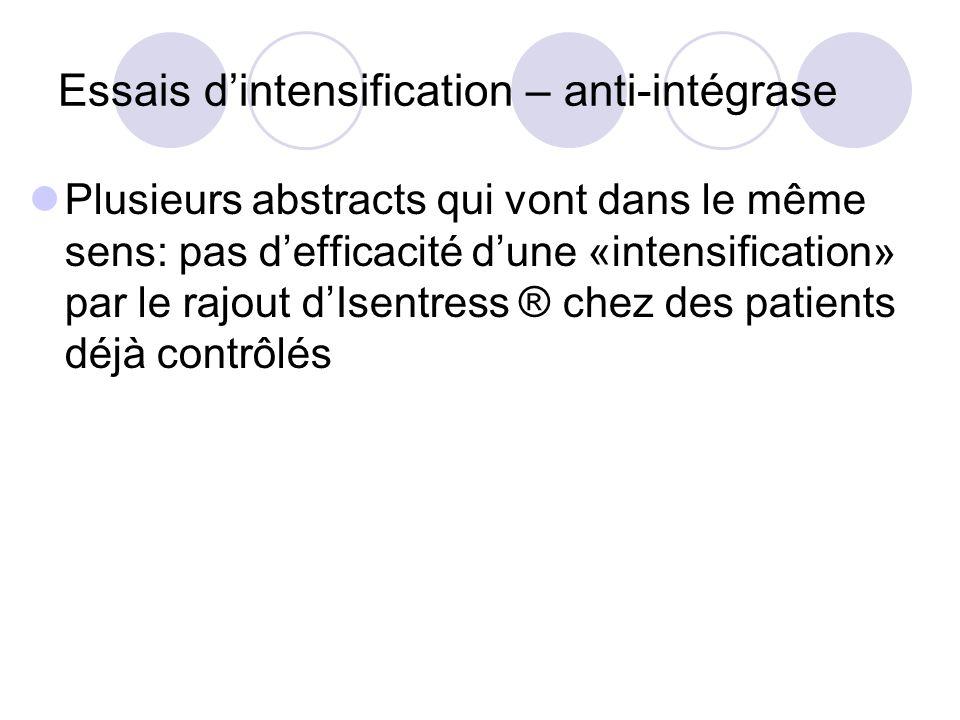 Essais d'intensification – anti-intégrase