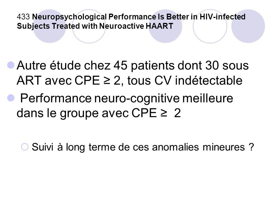 Performance neuro-cognitive meilleure dans le groupe avec CPE ≥ 2