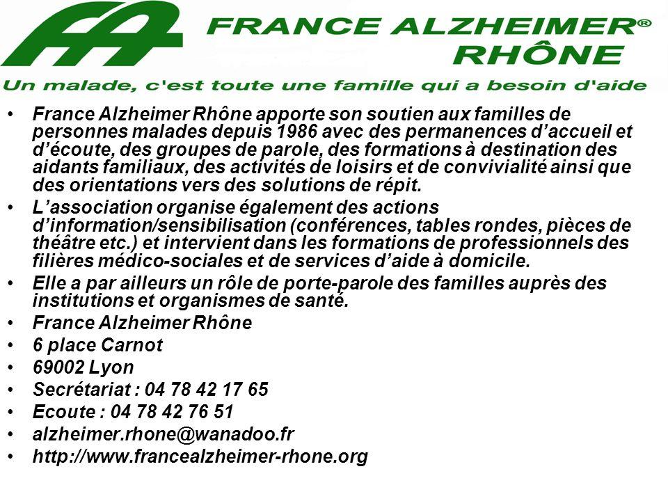 France Alzheimer Rhône apporte son soutien aux familles de personnes malades depuis 1986 avec des permanences d'accueil et d'écoute, des groupes de parole, des formations à destination des aidants familiaux, des activités de loisirs et de convivialité ainsi que des orientations vers des solutions de répit.