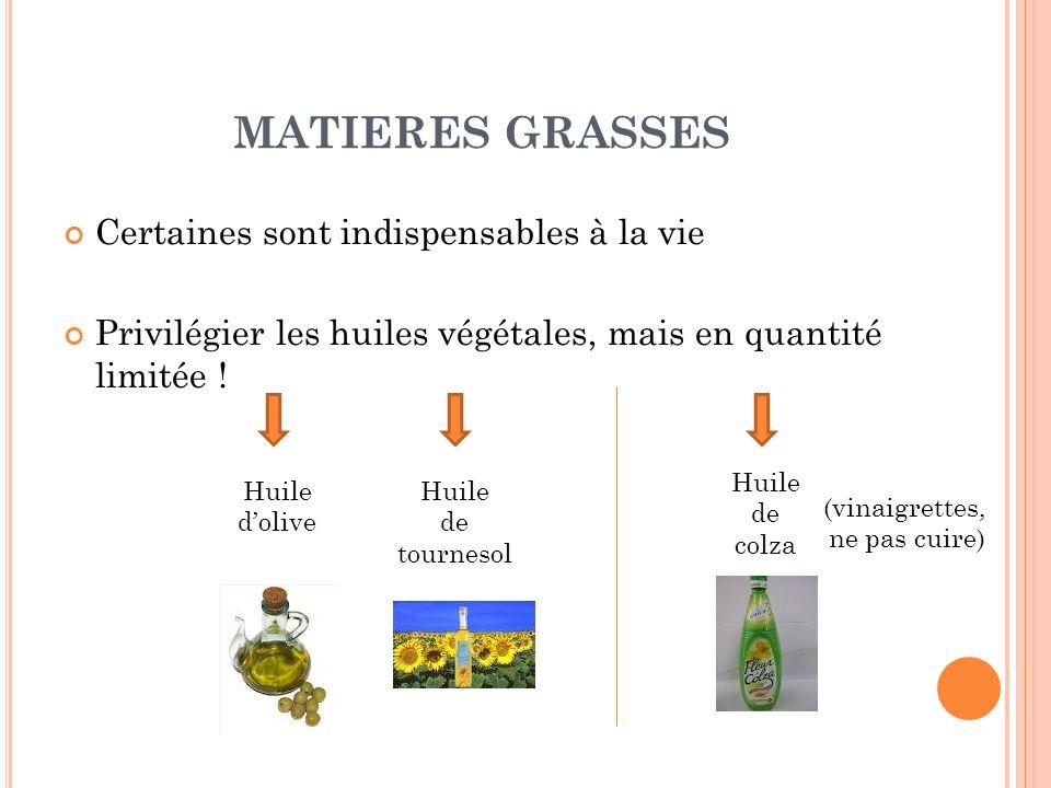 MATIERES GRASSES Certaines sont indispensables à la vie