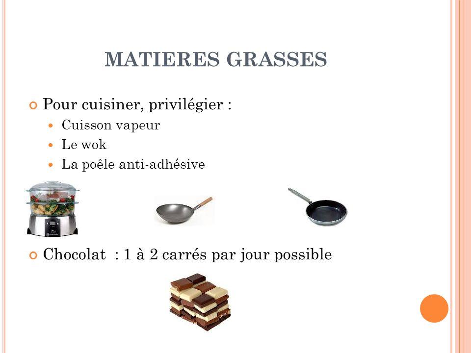 MATIERES GRASSES Pour cuisiner, privilégier :