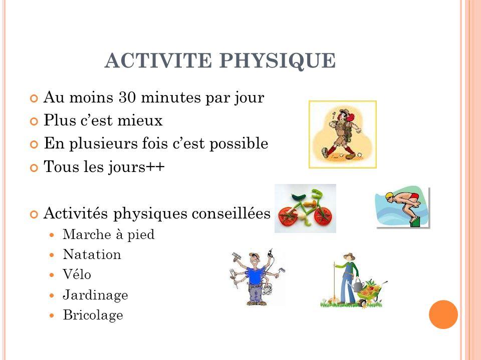 ACTIVITE PHYSIQUE Au moins 30 minutes par jour Plus c'est mieux