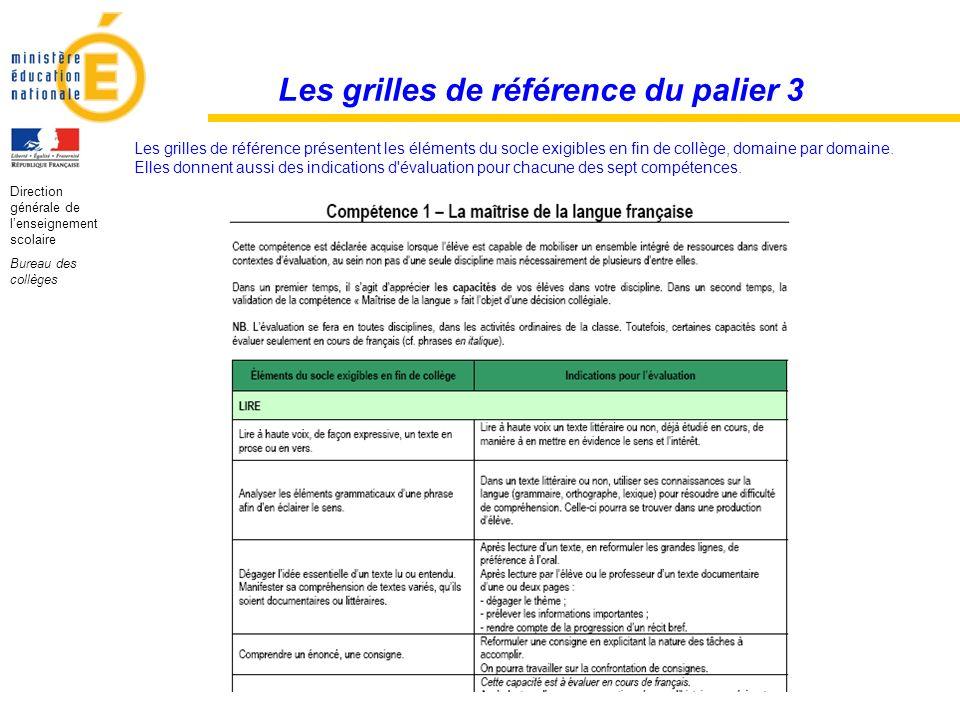 Les grilles de référence du palier 3
