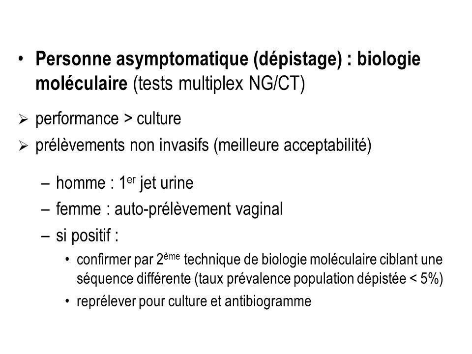 Personne asymptomatique (dépistage) : biologie moléculaire (tests multiplex NG/CT)