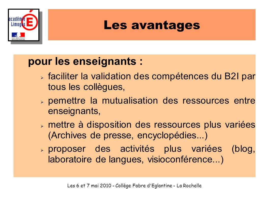 Les 6 et 7 mai 2010 - Collège Fabre d Eglantine - La Rochelle