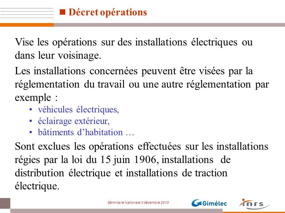 Décret opérations Vise les opérations sur des installations électriques ou dans leur voisinage.
