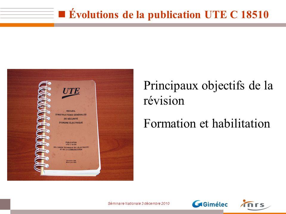 Évolutions de la publication UTE C 18510