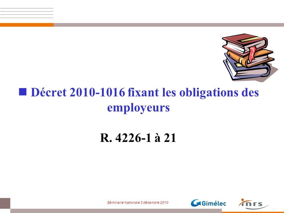 Décret 2010-1016 fixant les obligations des employeurs R. 4226-1 à 21