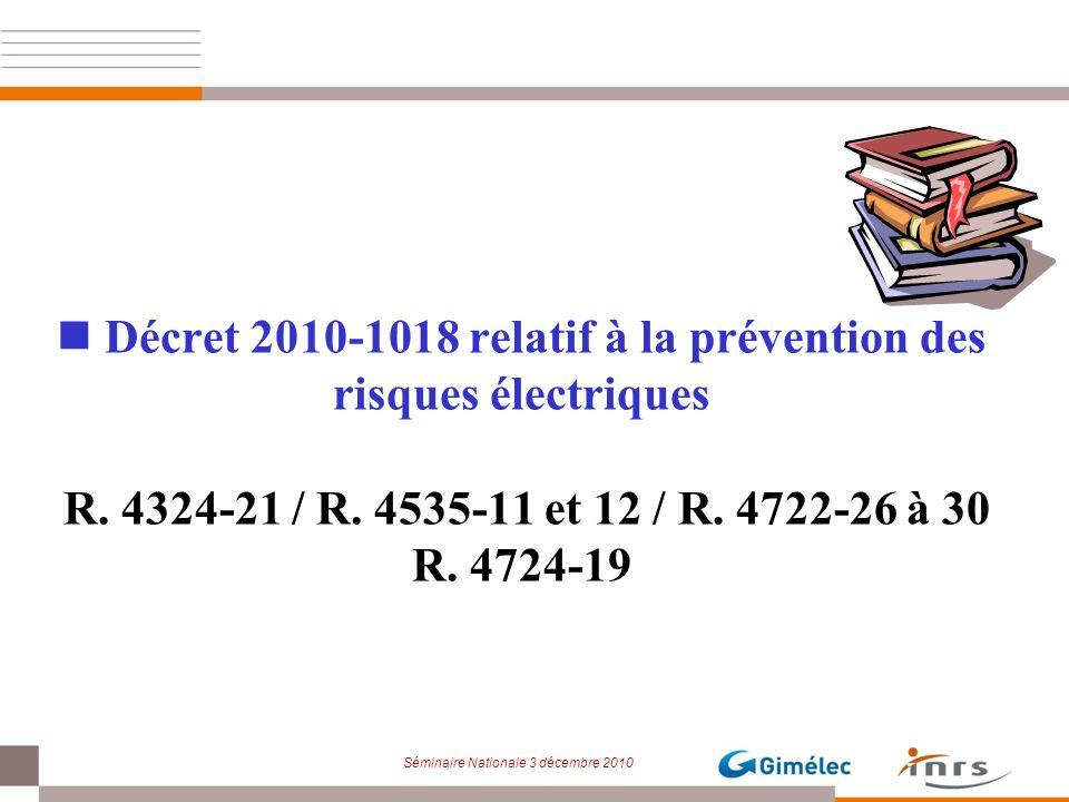 Décret 2010-1018 relatif à la prévention des risques électriques