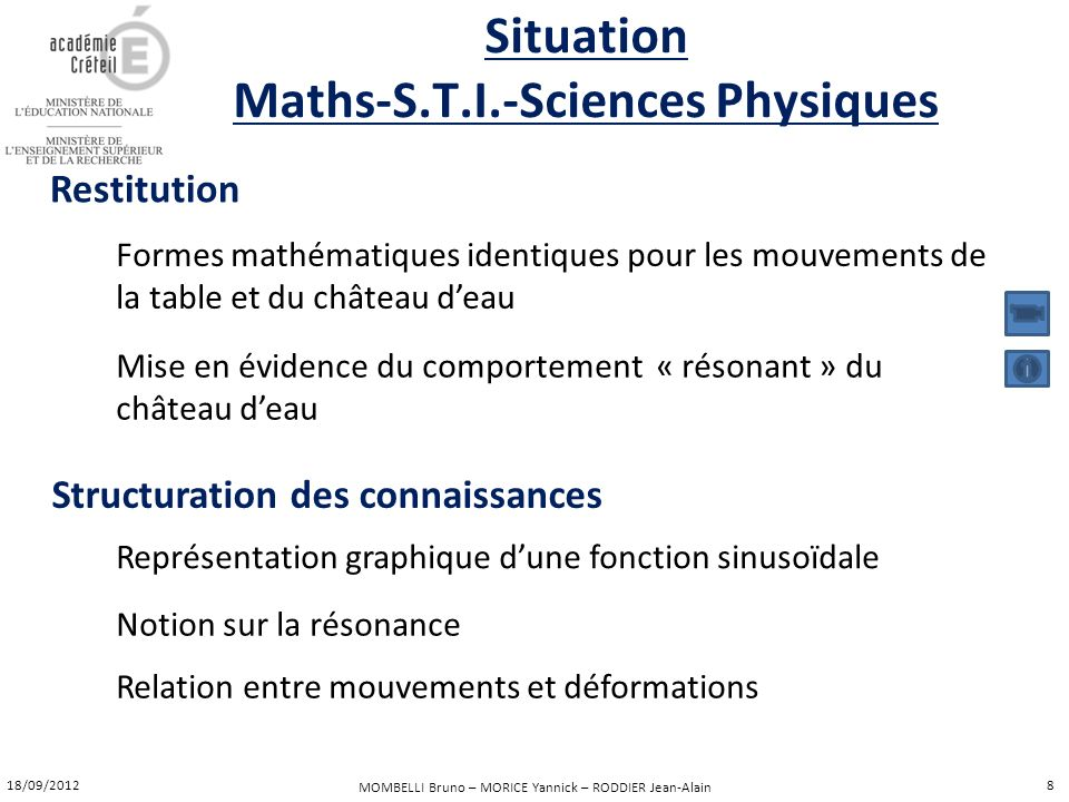 Situation Maths-S.T.I.-Sciences Physiques