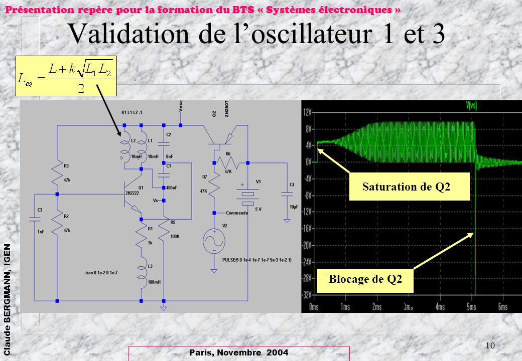 Validation de l'oscillateur 1 et 3