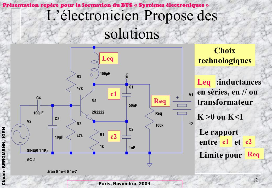 L'électronicien Propose des solutions