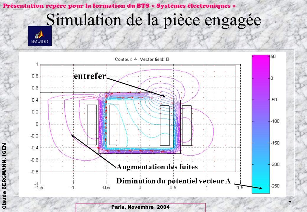 Simulation de la pièce engagée