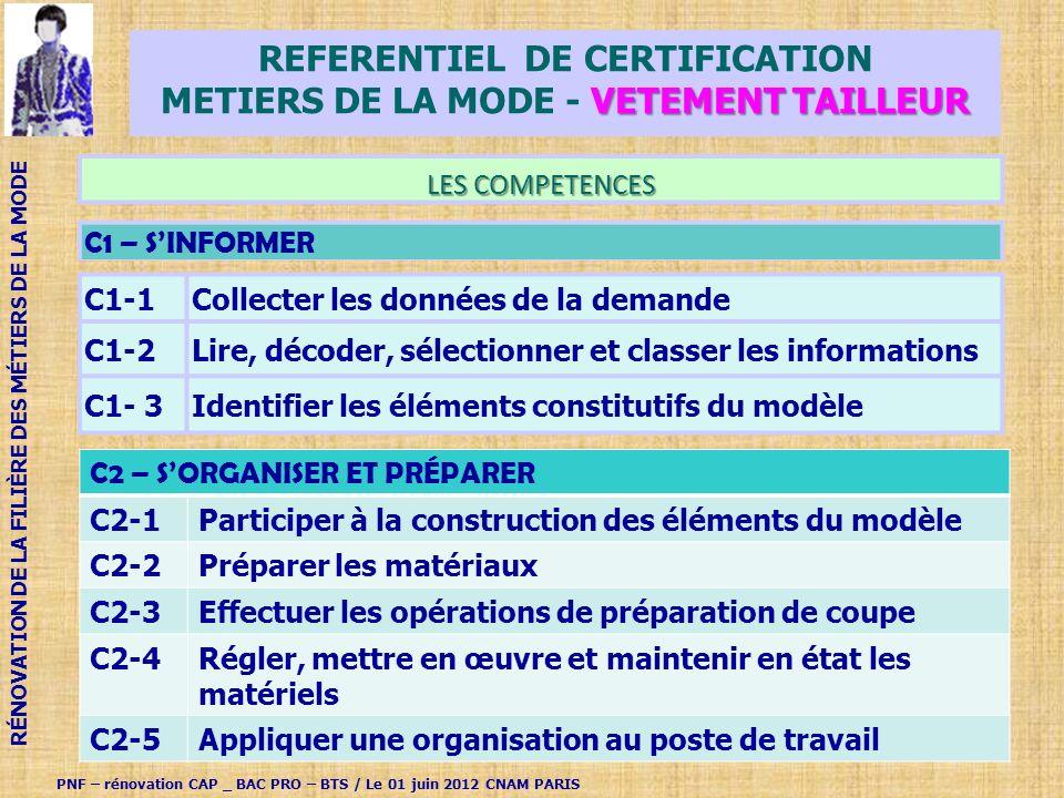 REFERENTIEL de CERTIFICATION METIERS DE LA MODE - VETEMENT TAILLEUR