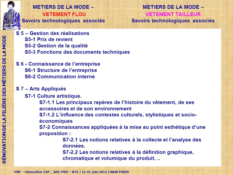VETEMENT tailleur Savoirs technologiques associés METIERS DE LA MODE –