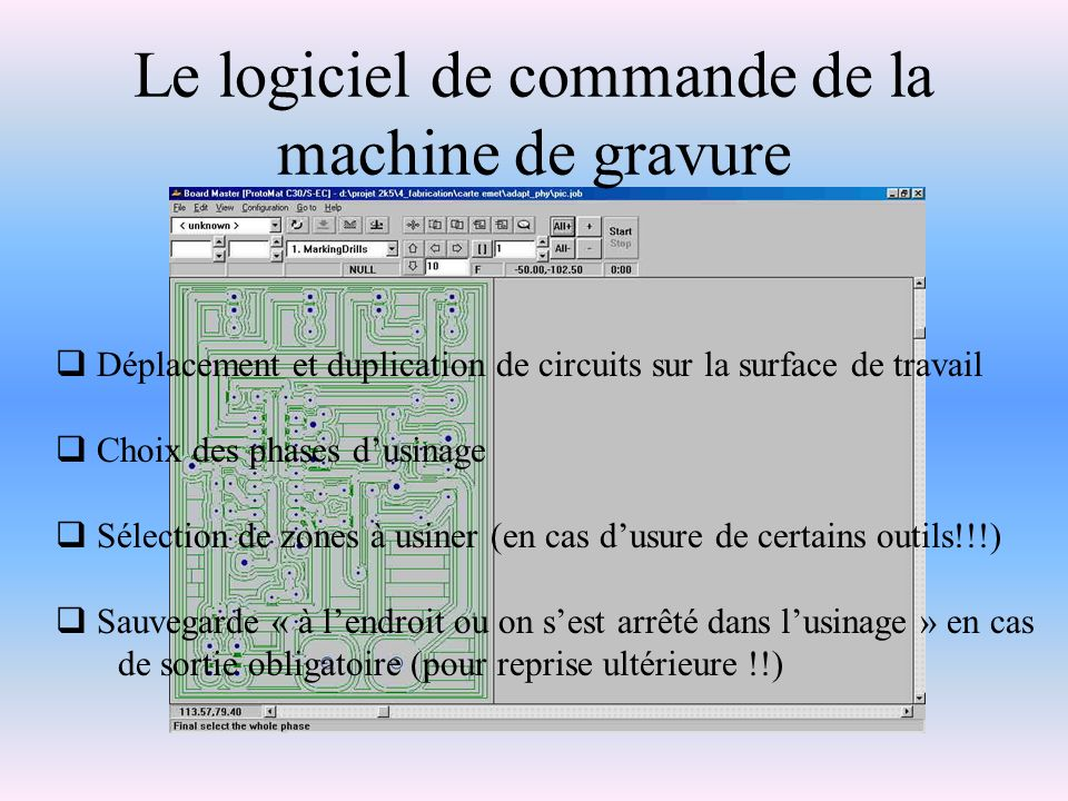 Le logiciel de commande de la machine de gravure