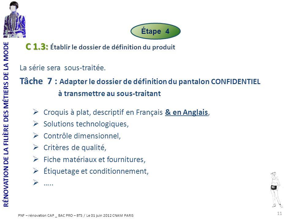 C 1.3: Établir le dossier de définition du produit