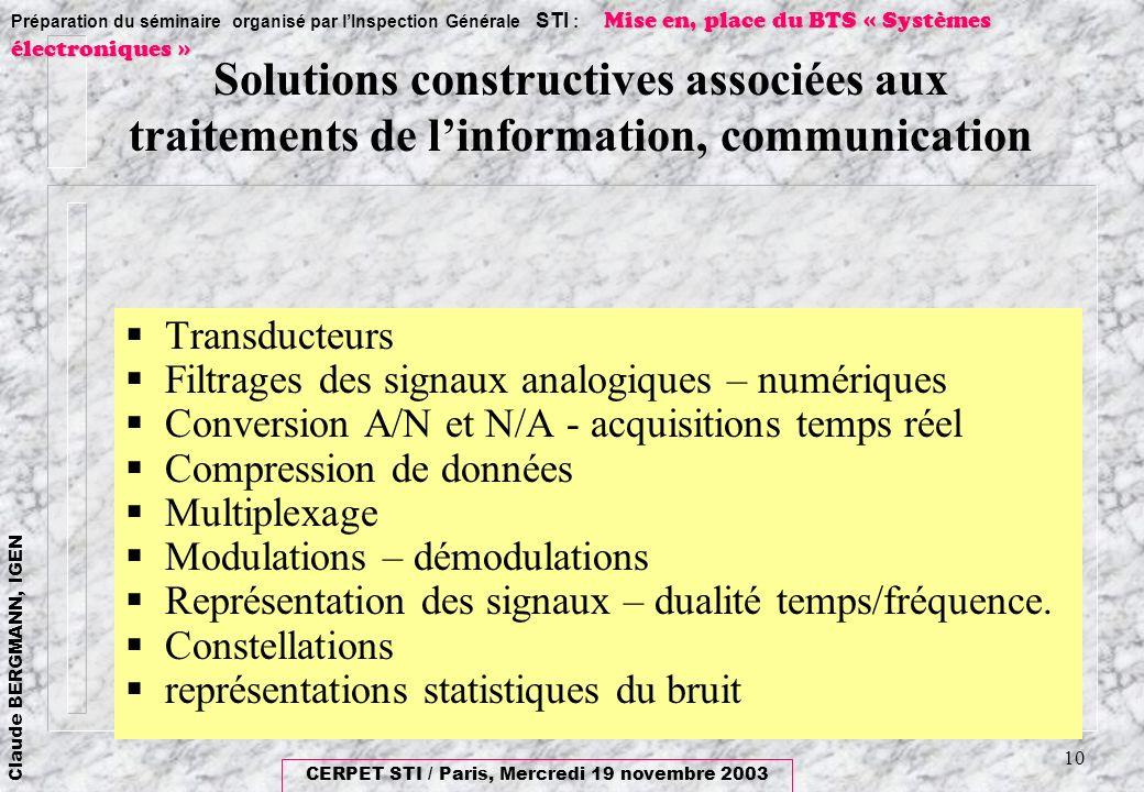 Solutions constructives associées aux traitements de l'information, communication
