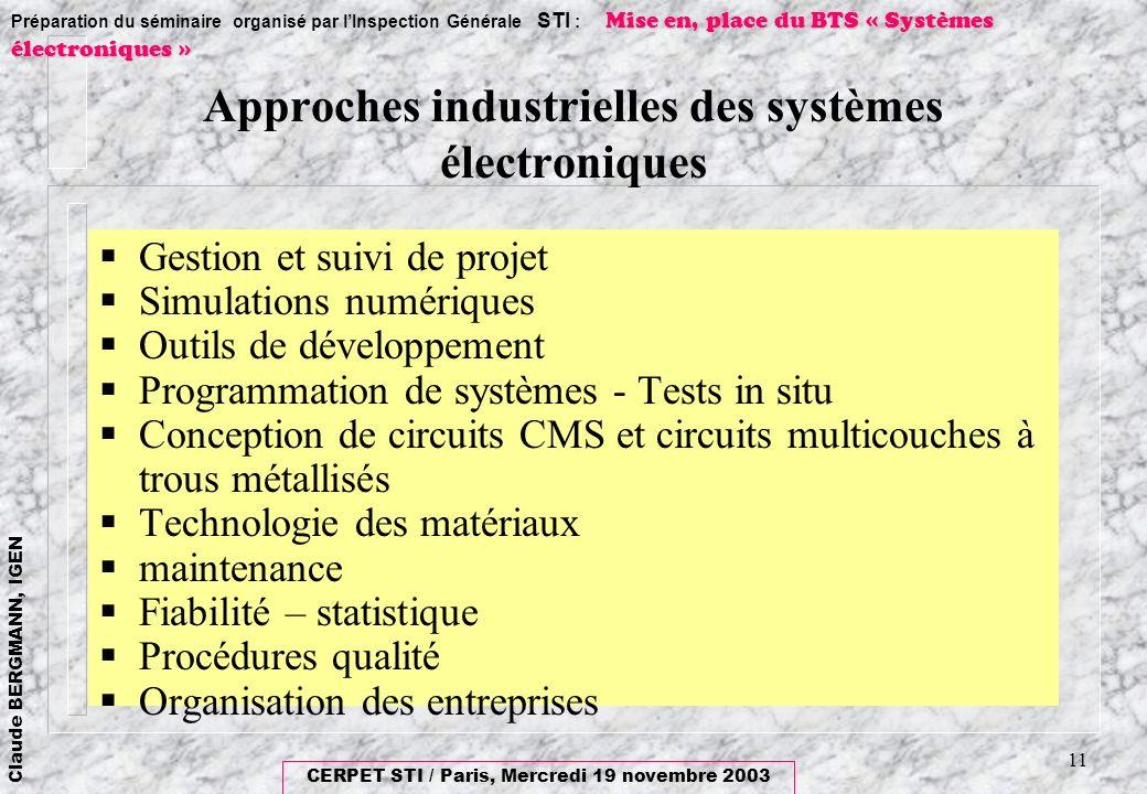 Approches industrielles des systèmes électroniques