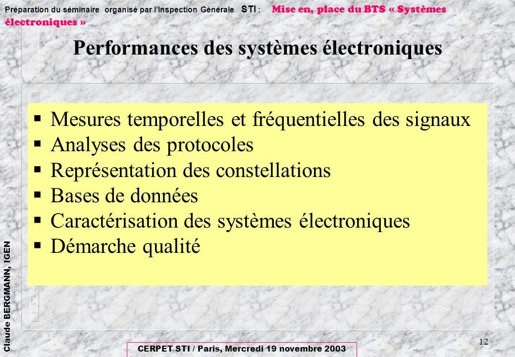 Performances des systèmes électroniques