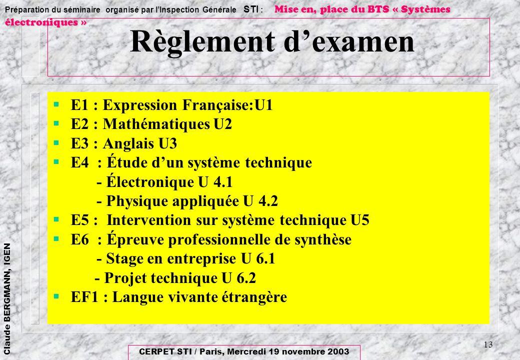 Règlement d'examen E1 : Expression Française:U1 E2 : Mathématiques U2