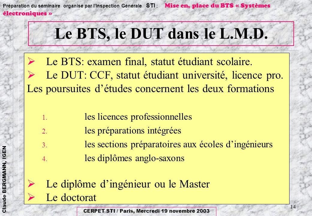 Le BTS, le DUT dans le L.M.D. Le BTS: examen final, statut étudiant scolaire. Le DUT: CCF, statut étudiant université, licence pro.