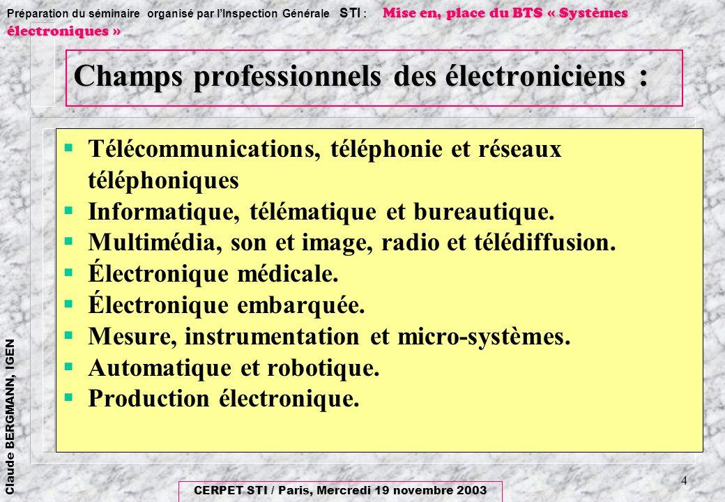 Champs professionnels des électroniciens :
