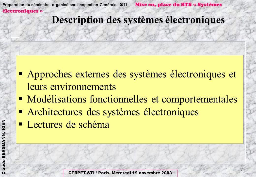 Description des systèmes électroniques