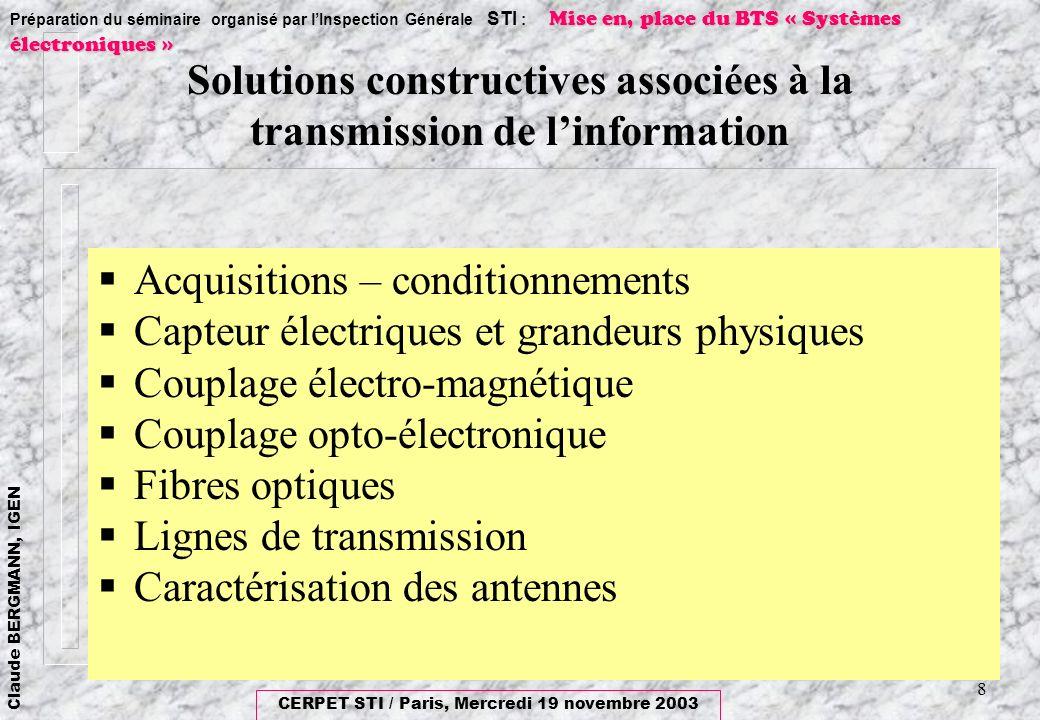 Solutions constructives associées à la transmission de l'information