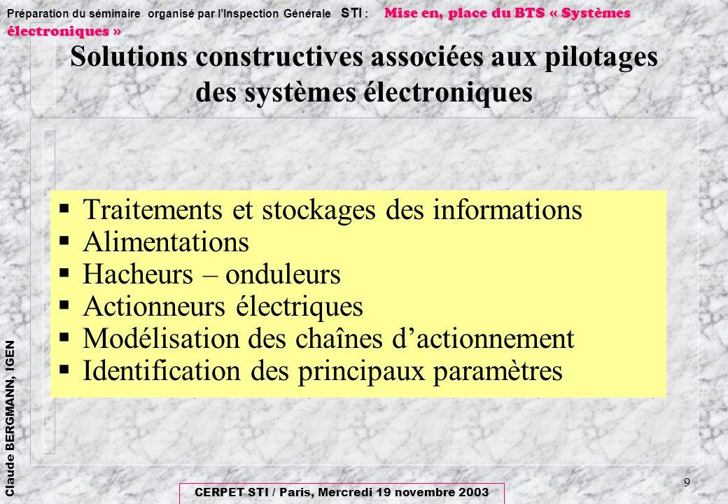 Solutions constructives associées aux pilotages des systèmes électroniques