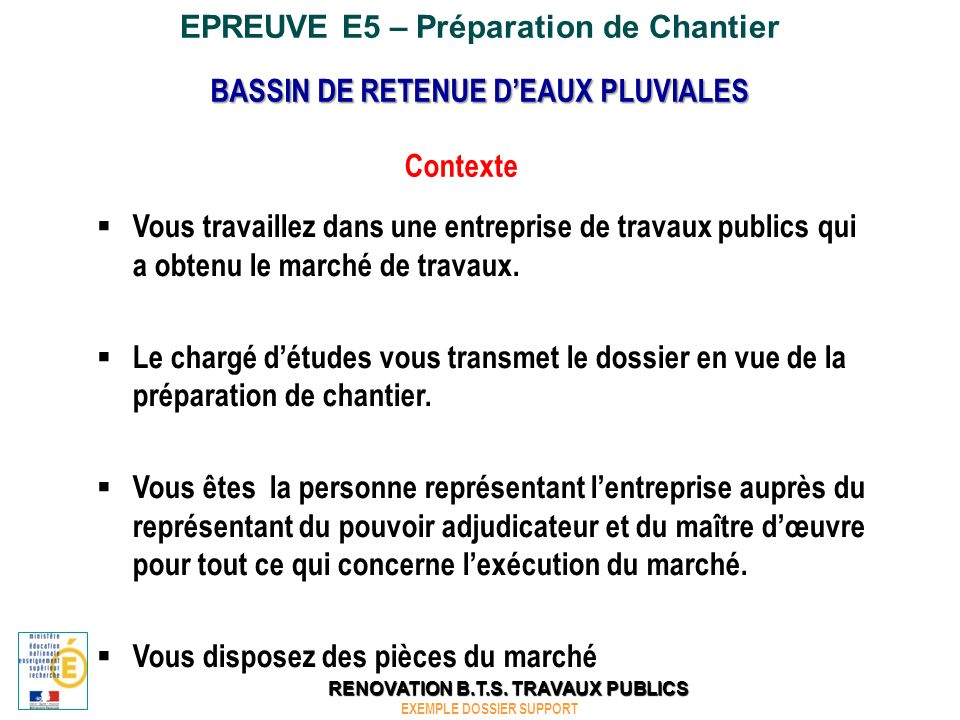 EPREUVE E5 – Préparation de Chantier