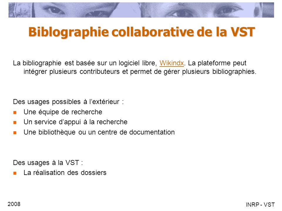 Biblographie collaborative de la VST