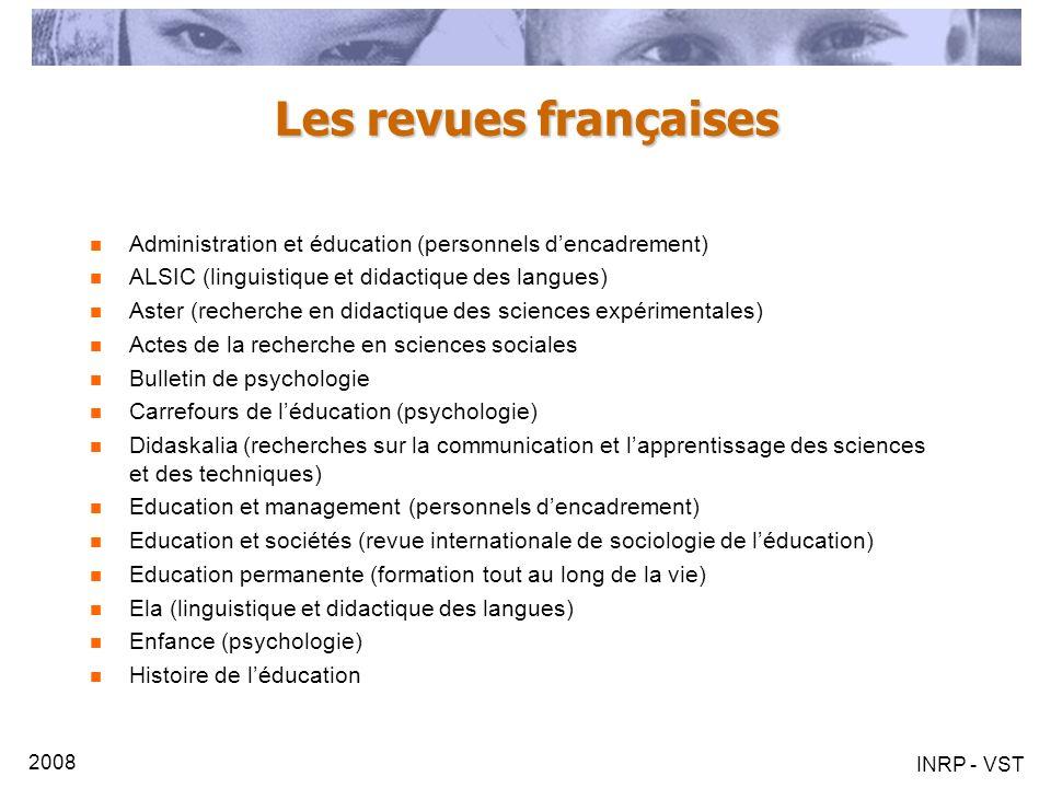 Les revues françaises Administration et éducation (personnels d'encadrement) ALSIC (linguistique et didactique des langues)