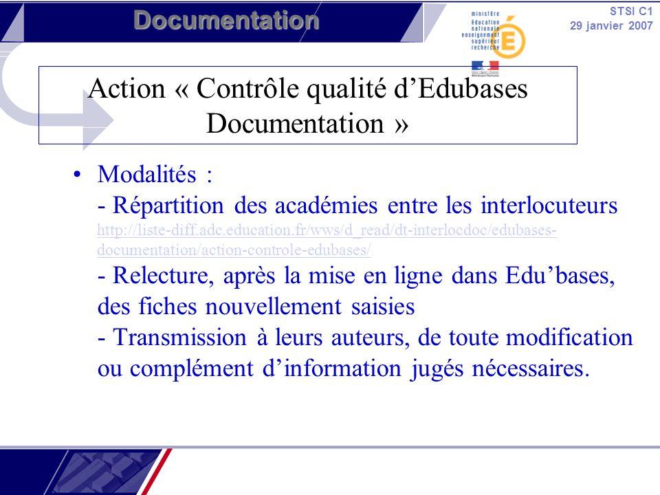 Action « Contrôle qualité d'Edubases Documentation »