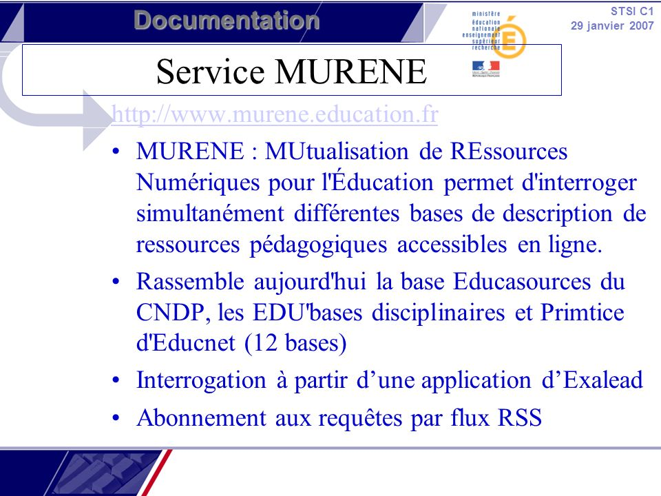Service MURENE http://www.murene.education.fr