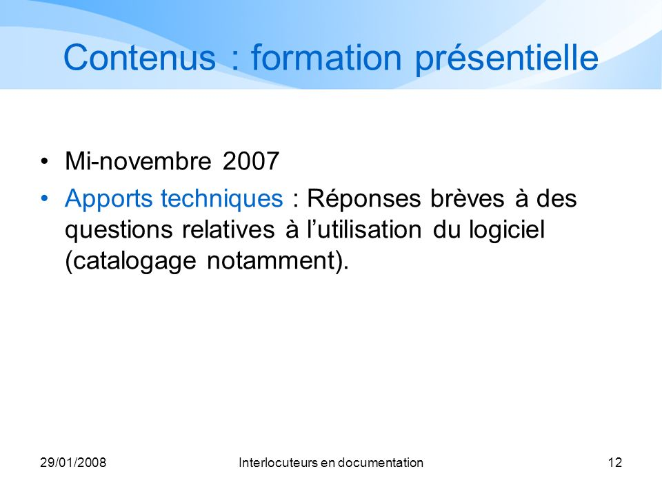 Contenus : formation présentielle