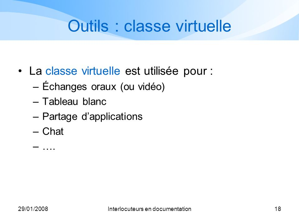 Outils : classe virtuelle