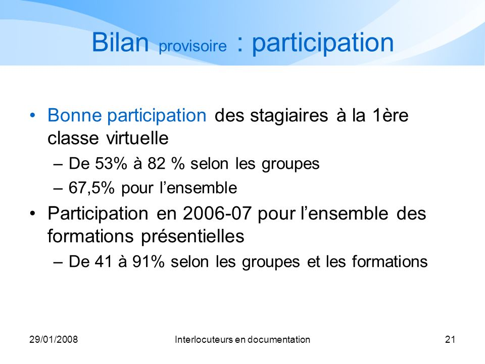 Bilan provisoire : participation