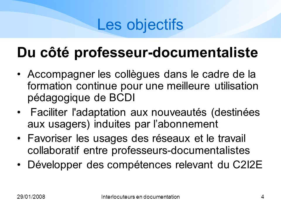 Interlocuteurs en documentation