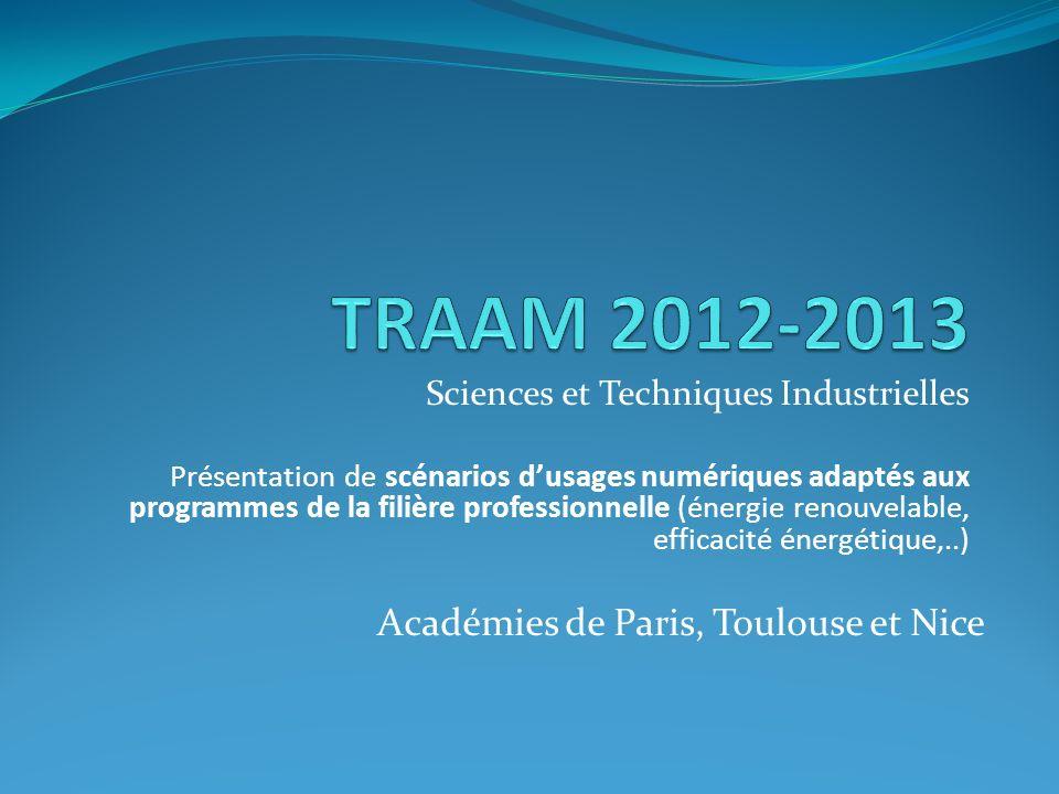 TRAAM 2012-2013 Académies de Paris, Toulouse et Nice
