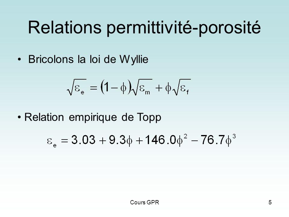 Relations permittivité-porosité
