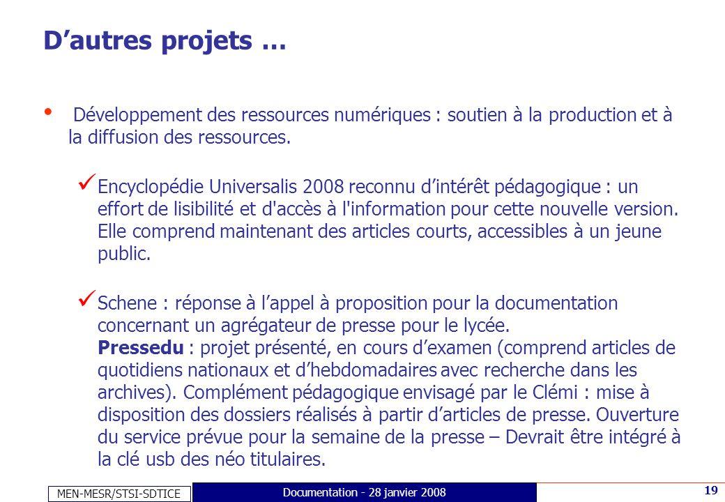 Documentation - 28 janvier 2008