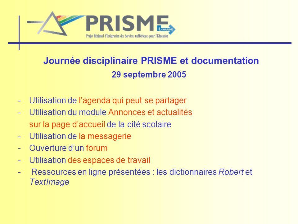 Journée disciplinaire PRISME et documentation