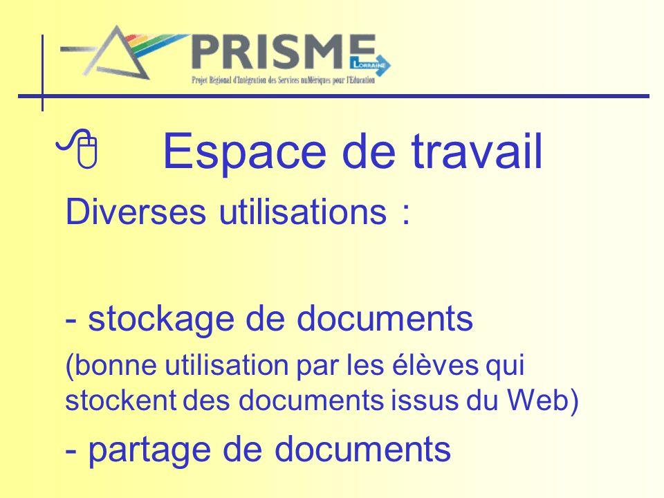  Espace de travail Diverses utilisations : - stockage de documents
